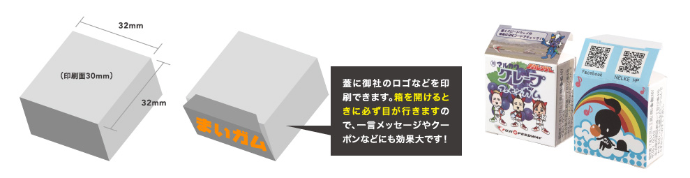 側面に御社のロゴなどを印刷できます。箱を開けるときに必ず目が行きますので、一言メッセージやクーポンなどにも効果大です!